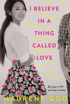cover description: A Korean American teen girl is smiling. To her right, a teen boy stands mostly out of the frame. The image is black and white with pink and yellow accents.