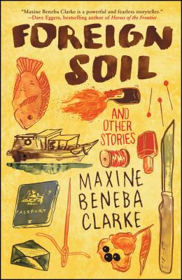 cover description: A bright yellow cover with stylized illustrations of a red fish, a boat, a passport, an envelope, a needle and thread, a knife, nail polish, pins, a molotov cocktail, and a flower with heavy dark seeds or stamens.
