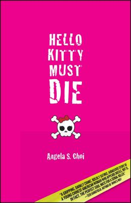 cover description: A hot pink cover with creepy white font and a cartoon white skull and crossbones that has a red bow perched jauntily on its head like the cartoon character Hello Kitty.
