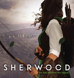 cover description: A girl in a green cloak looks out over a medieval town while holding a bow and arrows.