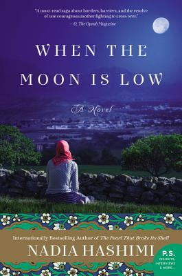cover description: A hijabi woman sits on a hill and gazes at the moon.