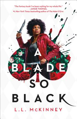 cover description:  a Black girl with an afro and badass red leather jacket stands in the middle of a spade shape filled with roses. she looks ready to attack.