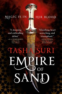"""cover description: an ornate, jewel-encrusted dagger against a red starry background. the tagline reads: """"Magic is in her blood."""""""