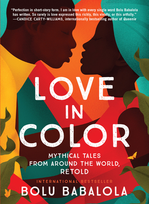 cover description: a dark-skinned Black couple illustrated in a bold geometric style, dressed in bright colors, leaning toward each other as if they are about to kiss.
